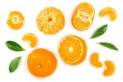 Tangerine lub mandarynka z liśćmi na białym tle Odgórny widok Mieszkanie nieatutowy obraz royalty free