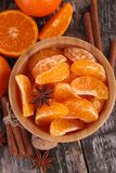Tangerine or mandarin fruit and spices Royalty Free Stock Images