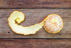 Tangerine, Mandarin honey orange on wood Royalty Free Stock Photo