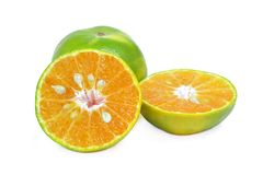 Tangerine or Mandarin Orange half cut on a white background. With clipping path stock photos