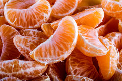 Tangerine or mandarin orange segments peeled close up background texture. Royalty Free Stock Image