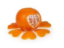 Tangerine med hjärta arkivfoto