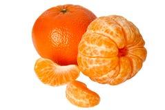 Tangerine mit Segmenten Stockfotos