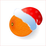 Tangerine in a New Year's cap of Santa Claus. Stock Photos
