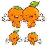 Tangerine and orange character couples on Running. Fruit Charact Royalty Free Stock Photography