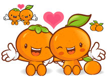Tangerine and orange character couples are welcome to sit. Fruit Stock Photography