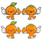 Tangerine and Orange Couple characters to promote fruit selling. Royalty Free Stock Photos