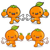 Tangerine and Orange Couple characters to promote fruit selling. Stock Image