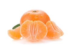 Tangerine orange fruit and slices on white Stock Photos