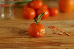 Tangerine orange with peel Stock Photography