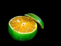 Tangerine orange was slashed. To orange flesh inside stock images