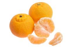 Tangerine oranges. Three tangerine oranges isolated on white background - one orange has been peeled Royalty Free Stock Images