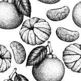 Seamless pattern with hand drawn tangerine illustrations. Vector ccitrus background. Summer fruits drawing for logo, icon, label,. Packaging design vector illustration