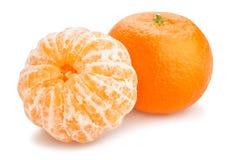 Tangerine. Peeled tangerine path isolated on white Stock Photos