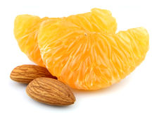 Tangerine segment with nuts Stock Photography