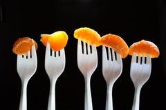 Tangerine Segments. Five white plastic forks with tangerine segments on dark background Royalty Free Stock Photography
