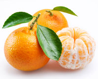 Tangerine with segments. On a white background Stock Photography