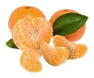 Tangerine with segments. Tangerines with green leaf and slices Stock Image