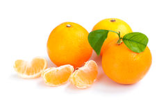 Tangerine with segments Stock Photos