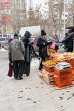Tangerine Sellers in Ufa Russia Winter stock photos