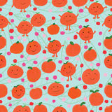 Tangerine set seamless pattern. Illustration watercolor set cute tangerine cartoon dots pink color drawing leaves decor green color background seamless pattern royalty free illustration