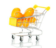 Tangerine in the shopping cart Stock Photos