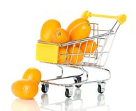 Tangerine in the shopping cart Royalty Free Stock Image