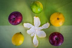 Tangerine skórka i pięć świezi owoc obrazy royalty free