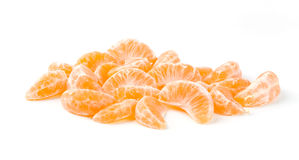 Tangerine Slices. Tangerine Segments Isolated on White Background Royalty Free Stock Photography