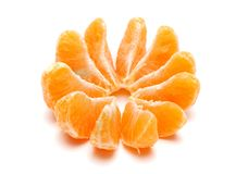 Tangerine Slices. Isolated on white Royalty Free Stock Photo