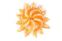 Tangerine slices. Mandarin slices isolated on a white background Stock Images