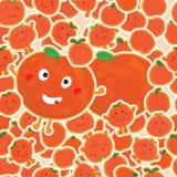 Tangerine sticker set seamless pattern Stock Photography