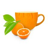 Tangerine tea. Photo of cup with tangerine - tea concept Royalty Free Stock Image
