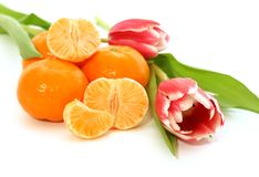 tangerine and tulips isolated on white Royalty Free Stock Images