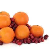 Tangerine-und Moosbeere-Frucht Stockfotos