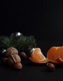 Tangerine and walnuts Stock Photography