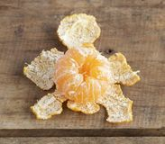 Tangerine on wooden table Stock Photos