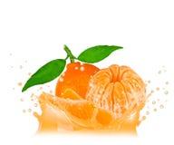 Tangerinefärgstänk Arkivbilder