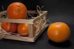 Tangerinen auf einem schwarzen Hintergrund Stockbilder