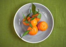 Tangerinen auf grünem Gewebehintergrund Stockfotos