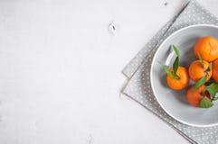 Tangerinen auf weißem hölzernem Hintergrund Freier Platz für Text Lizenzfreie Stockfotos