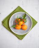 Tangerinen auf weißem hölzernem Hintergrund und grünem Gewebe Stockbild