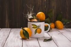 Tangerinen im Retro- Becher des weißen Emails Lizenzfreie Stockfotos