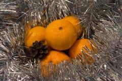 Tangerinen im silbernen Lametta Lizenzfreie Stockbilder