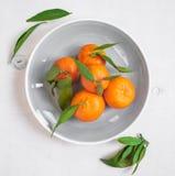 Tangerinen mit grünen Blättern auf weißem hölzernem Hintergrund Stockfotos
