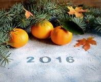 Tangerineniederlassungen 2016 und -nadeln des neuen Jahres auf grauem Hintergrund Stockfotos