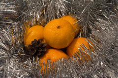 Tangerines ασημένιο tinsel Στοκ εικόνες με δικαίωμα ελεύθερης χρήσης