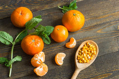 Tangerines και μέντα Στοκ Εικόνα