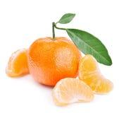 tangerines φύλλων λευκό Στοκ Φωτογραφίες