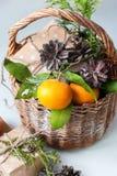 Tangerines Χριστουγέννων ρωσικές διακοπές παράδοσης κιβωτίων Στοκ φωτογραφίες με δικαίωμα ελεύθερης χρήσης